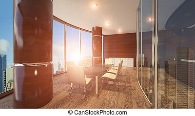 Office in a high-rise building. The meeting room. sunny day