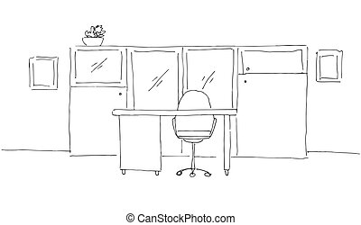 Office in a sketch style. Hand drawn office furniture. Vector illustration