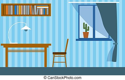 Office in the apartment with table, chair, bookshelf and window