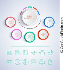 Office Infographics Colorful Vector Illustration
