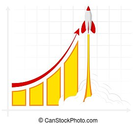 Office infographics showing growth rates, sales, profits or revenues. The result of business training.