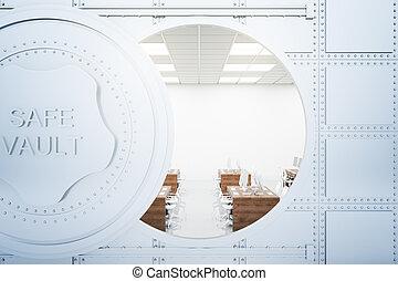 Office inside bank vault