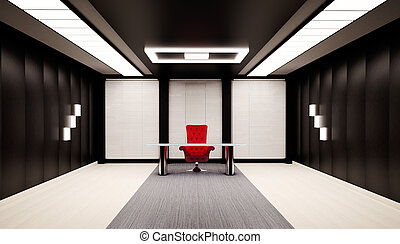 Office interior with red chair and table 3d