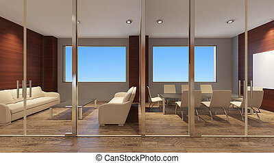 Office interior. 3D rendering