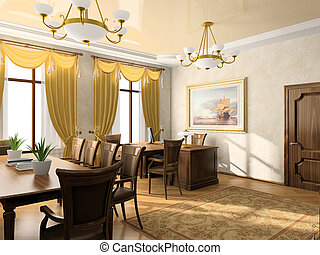 Office interior 3D rendering. Picture on the wall was...