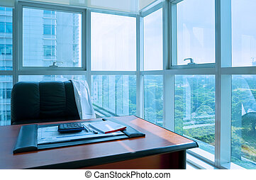 Office Interior - A corner office with a beautiful view