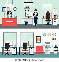 Office Interior Compositions - Two office interior...