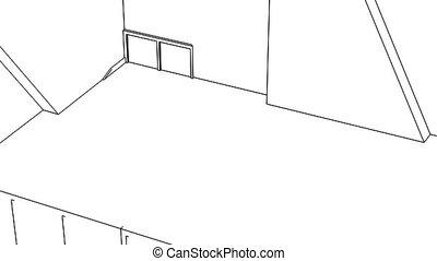 Office interior creation, wireframe