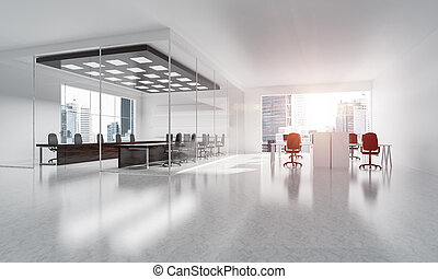 Office interior design in whire color and rays of light from win