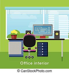 Office Interior in Flat Style. Modern Workspace