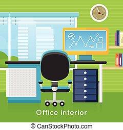 Office Interior in Flat Style. Modern Workspace