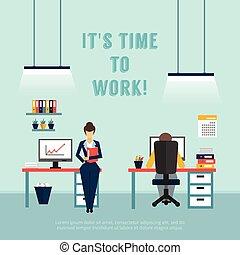 Office Interior Poster - Office interior poster with text it...