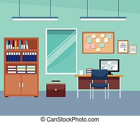 Empty office interior scenery with elements vector illustration graphic design