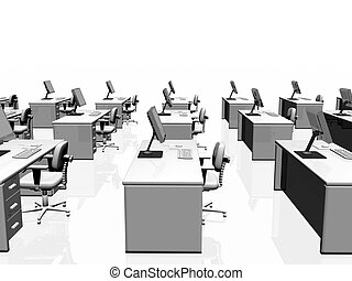 Office interior, teamwork. - Interior of an office, desks...