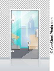 Office Interior Through Glass Door Flat Vector