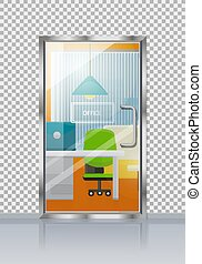 Office Interior Through Glass Door Flat Vector