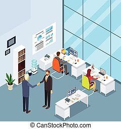 Office Interior, Two Businessman Hand Shake