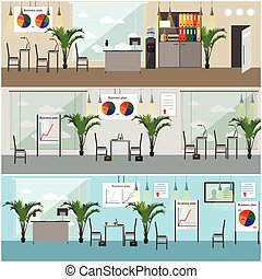 Office interior. Vector illustration in flat style design. Modern rooms with furniture