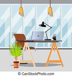 Office Interior Vector. Office With Furniture. Modern Workplace. Flat Illustration