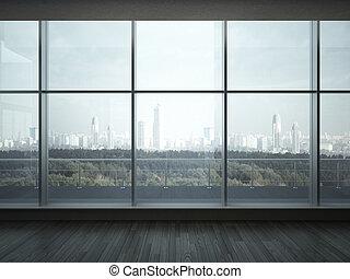 office interior with big windows