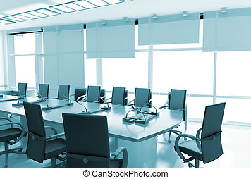 Office interior with black leather armchairs