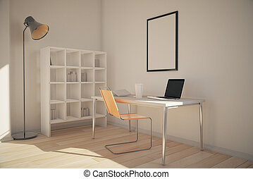 Office interior with bookshelves, workplace with blank frame...