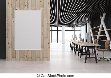 Office interior with empty poster