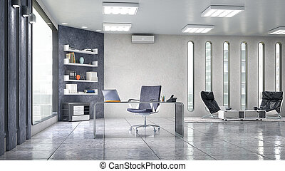 Office interior with large window. 3d illustration