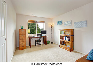 Office interior with simple desk and bookshelf