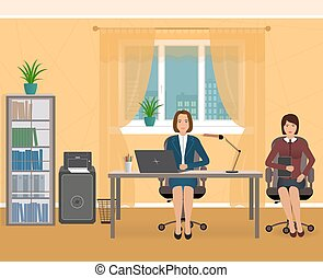 Office interior with two employee. Business characters on a workplace.