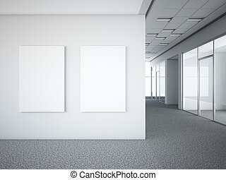 office interior with two white frames. 3d render