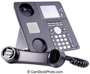 Office IP telephone set, off-hook, isolated on the white