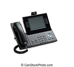 Office IP telephone set with LCD display isolated on white