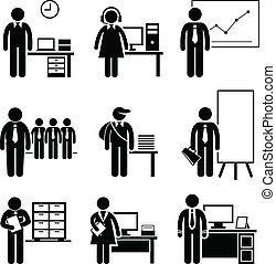 A set of pictograms showing the professions of people in the corporate industry.