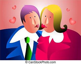 office kiss - couple sharing a kiss