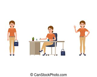Office lady worker cartoon character