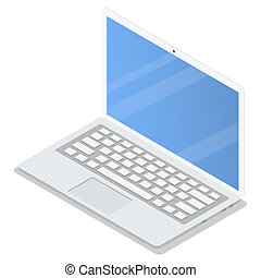Office laptop icon set, isometric style