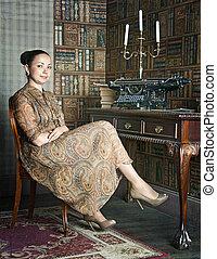 office-library, femme, jeune