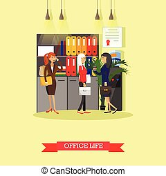 Office life concept vector illustration flat style. Female workers in interior.
