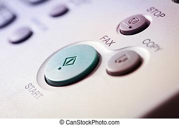 Office life, fax, copy machine, start button close up