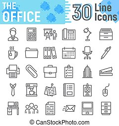 Office line icon set, business symbols collection, vector sketches, logo illustrations, work signs linear pictograms package isolated on white background, eps 10.