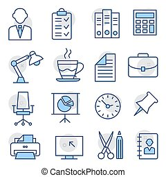 Office Line Icons on white background