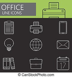 Office line icons set, outline vector symbol