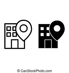 Office location pin line and glyph icon. Building on map vector illustration isolated on white. Gps outline style design, designed for web and app. Eps 10.