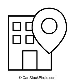 Office location pin thin line icon. Building on map vector illustration isolated on white. Gps outline style design, designed for web and app. Eps 10.