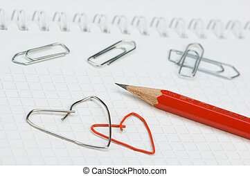 Office love - paper clips, formed as hearts
