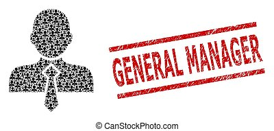 Office Man Composition of Office Man Icons and Textured General Manager Seal Stamp