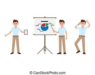 Office man making notes, presentation, talking on phone cartoon character