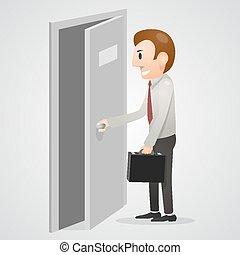 Office man opening a door
