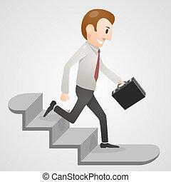 Office man running downstairs